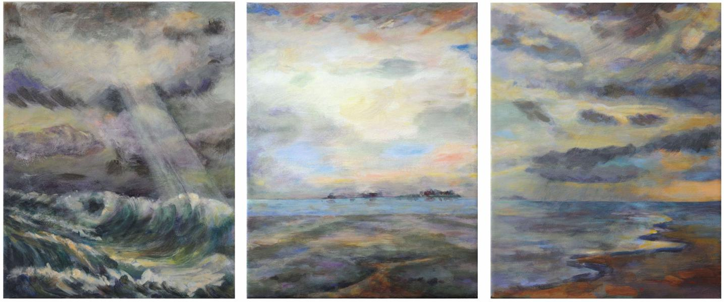 painting storm sun rain, North Sea, Hallig islands, triptych