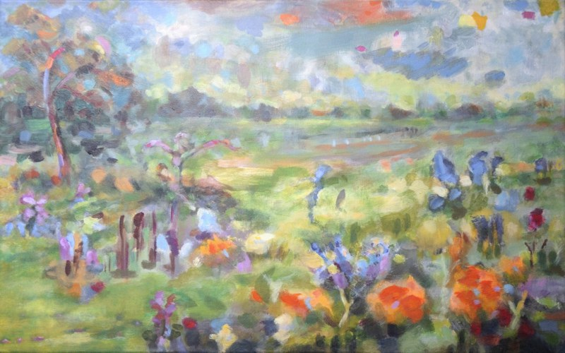 painting summer day - landscape abstract, Wulfsdorf near Hamburg